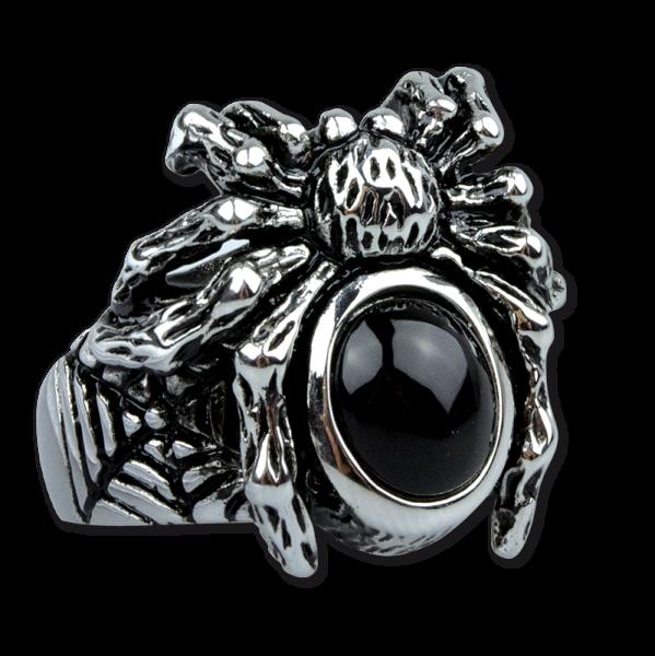 Ring Spinne Black Spider Edelstahl mit schwarzem Glas