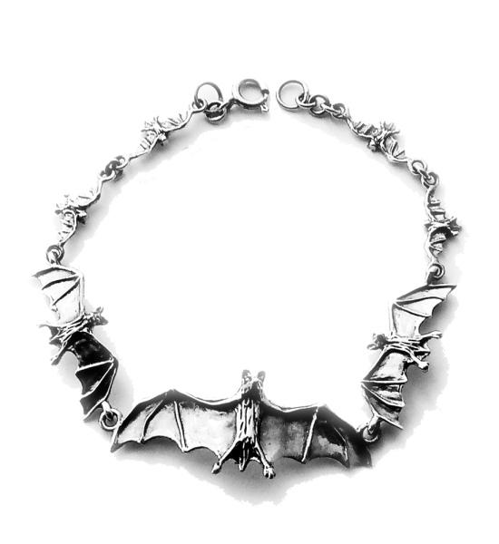 Armband Fledermaus Vampire Bats Silber Schmuck 21,5 cm Armkette