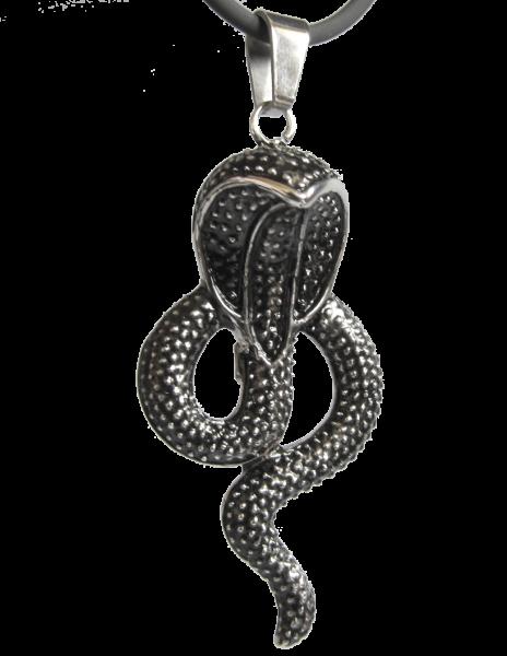 Anhänger schwarze Kobra aus Edelstahl