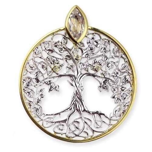 Anhänger Lebensbaum 925 Sterling Silber rhodiniert teilvergoldet