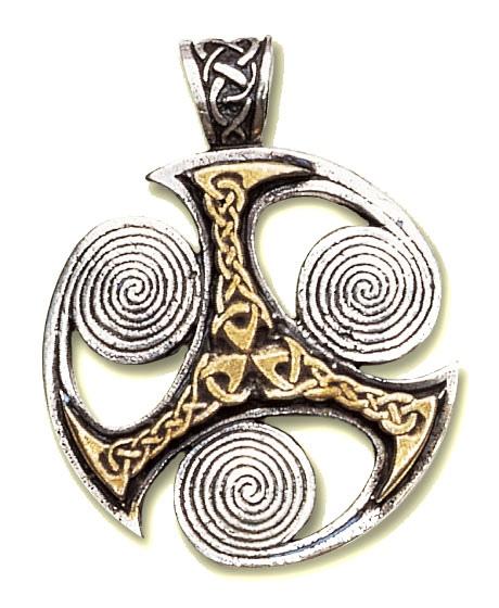 Amulett Triskele bicolor Zinn teilweise goldfarben coloriert mit Kette Keltischer Schmuck
