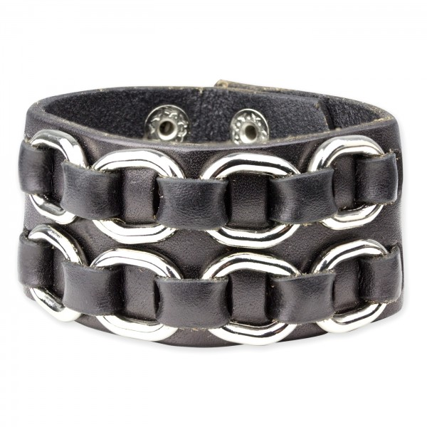 Lederamband Oval Metall schwarzes Leder