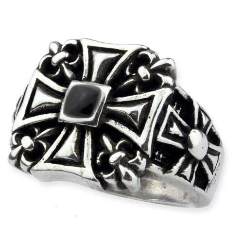 Ring Big Iron Cross mit Lilien aus 925er Sterling Silber mit Onyx