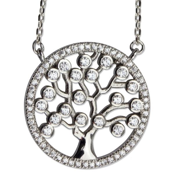 Halskette Lebensbaum 925er Sterling Silber mit Zirkonia