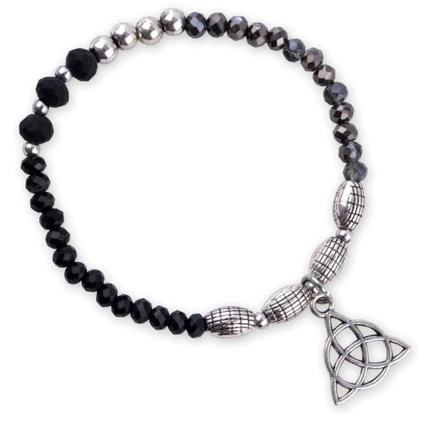 Armband keltischer Knoten schwarzes Glas mit silber