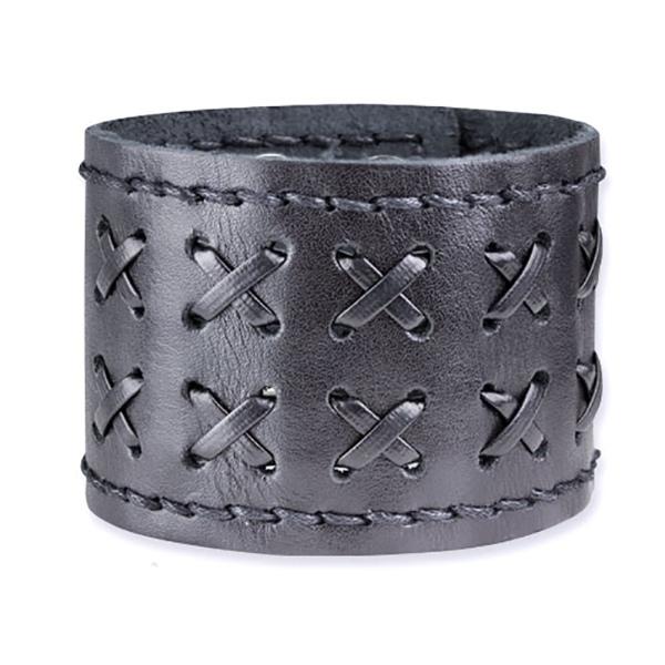 Breites Armband aus schwarzem Leder Druckknöpfen