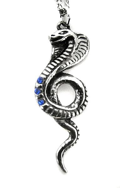 Anhänger Schlange Kobra Wadjet Zinn mit blauen Zirkonia inkl Kette