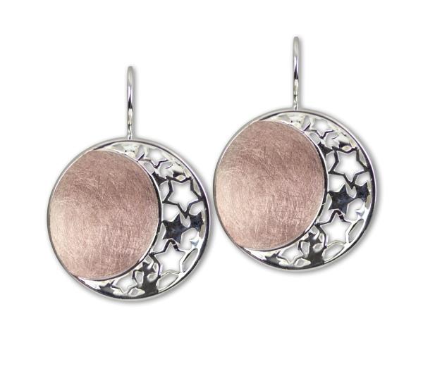Ohrringe Mond und Sterne Stars and Moon 925er Sterling Silber mit Rotgold-Beschichtung
