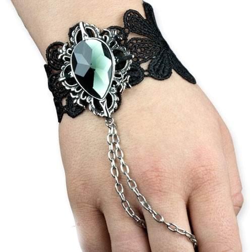Armband Black Diamond aus schwarzer Spitze mit Samt und Messing Ringkette und großem Zirkonia