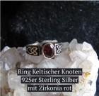 Ring keltischer Knoten 925er Sterling Silber mit roten Zirkonia