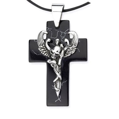 Anhänger schwarzes Kreuz mit geflügeltem Totenkopf Edelstahl mit Kunstharz