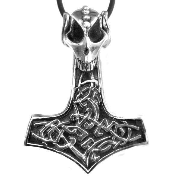 Anhänger Thors Hammer mit Drachenschädel
