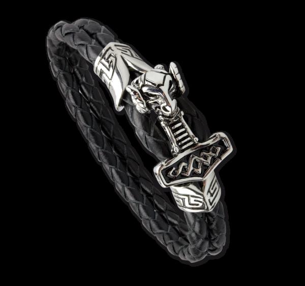 Lederarmband Armband Thors Hammer aus Edelstahl