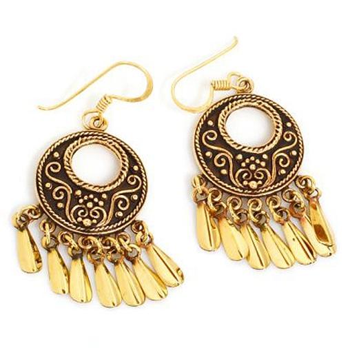 Ohrringe Orient Star orientialische runde Ohrhänger aus goldschimmernder Bronze