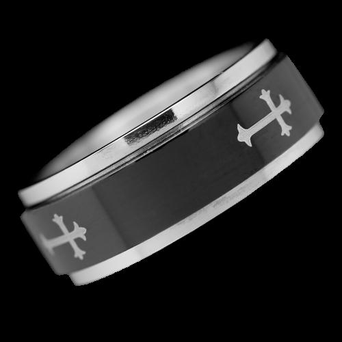 Ring mit Kreuz Edelstahl