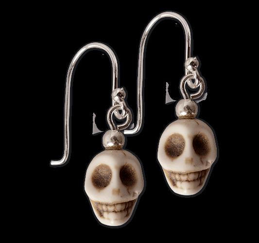 Ohrringe Totenkopf Skull weiss Ohrstecker 925er Sterling Silber + Polyresin