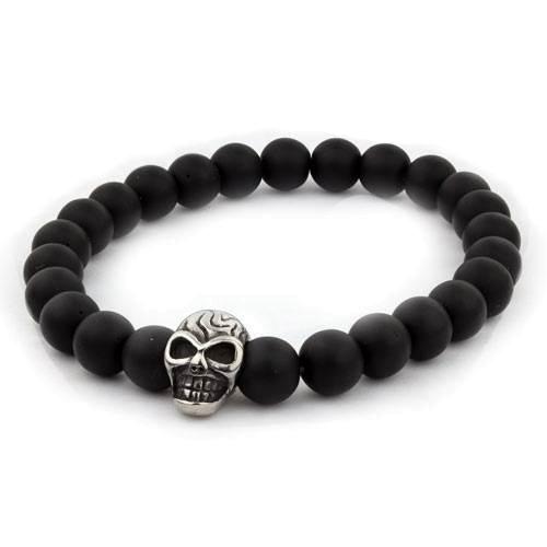 Schwarzes Armband Skull Glasperlen mit Totenkopf aus Edelstahl Länge 18cm elastisch
