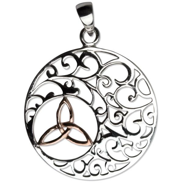 Runder Anhänger Keltischer Knoten Trinity in einem floralen Ornament aus 925er Sterling Silber, rhodiniert
