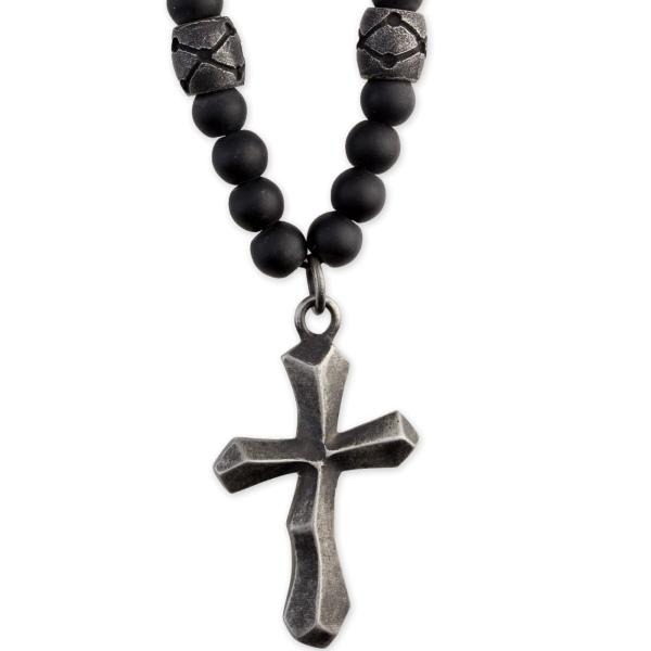 Kette Ancient Cross Kreuz Edelstahl mit schwarzem Glas mattiert Länge 70cm