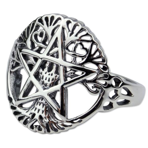 Ring Lebensbaum mit Pentagramm 925 Sterling Silber Höhe 1,8cm