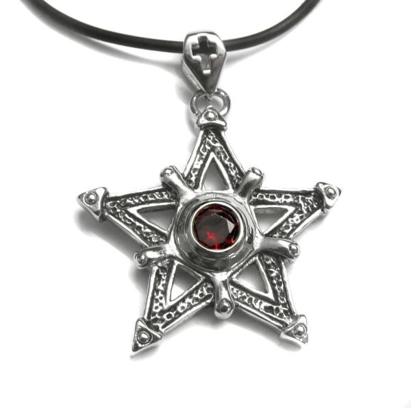 Pentagramm mit roten Zirkonia aus Edelstahö