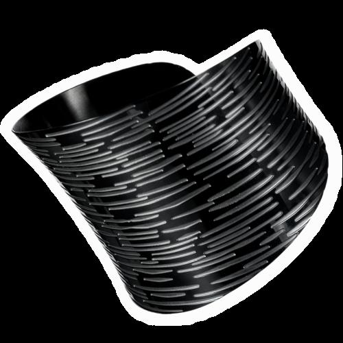 Schwarzer Armreifen breite Armspange Edelstahl
