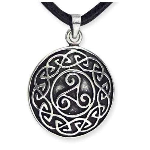 Amulett Triskele mit keltischen Knoten Triskel Plate 925er Sterling Silber