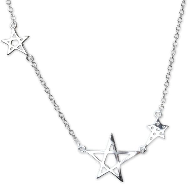 Halskette Pentagramme 925er Sterling Silber mit Zirkonia