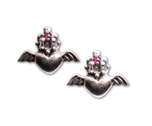 Ohrstecker Fliegendes Herz mit Krone 925er Sterling Silber Zirkonia Rosa