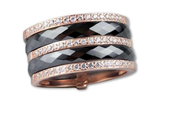 Schwarzer Ring aus Keramik Breite 1,2cm 925er Sterling Silber Rotgold beschichtet Zirkonia
