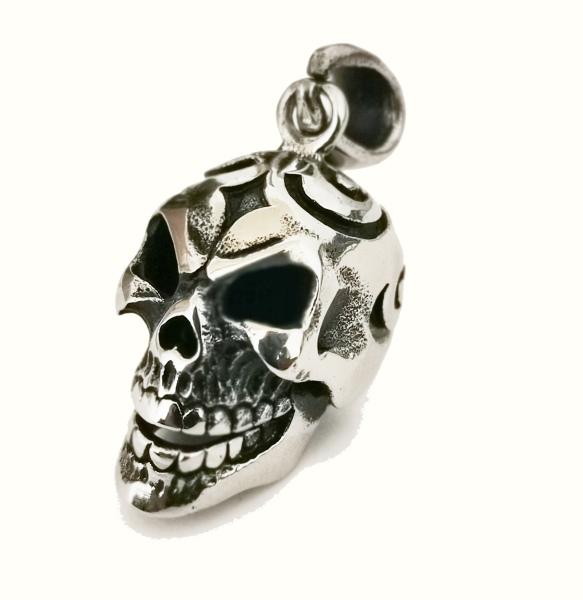 Anhänger Totenkopf Skull mit Tribals Edelstahl