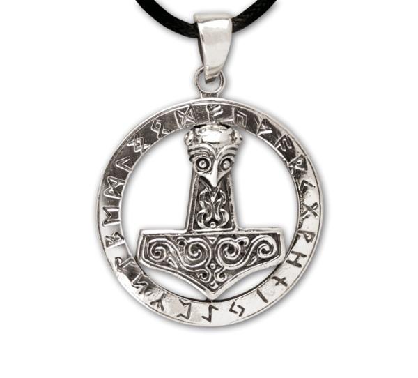 Amulett Thors Hammer mit Runenring 925er Sterling Silber