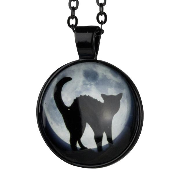 Schwarze Kette mit Anhänger Schwarze Katze Zinklegierung poliert