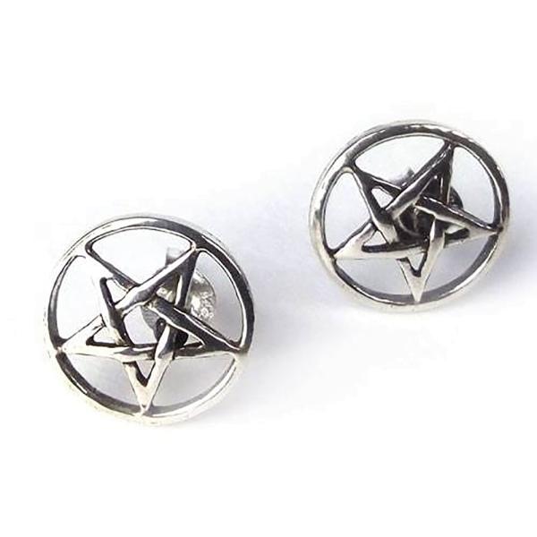 Ohrstecker Pentagramm 925er Sterling Silber Durchmesser 1,2cm