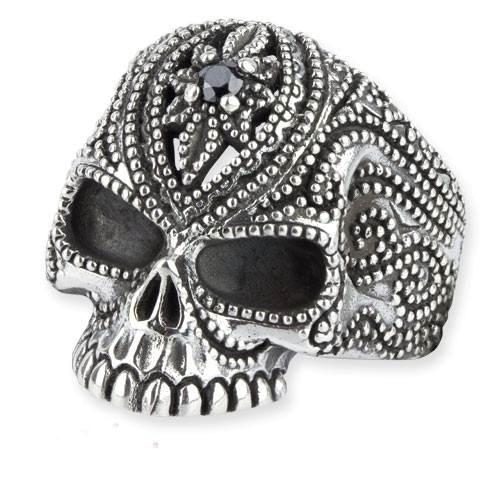 Totenkopfring Tattoo Skull Totenkopf aus 925er Sterling Silber mit schwarzen Zirkonia