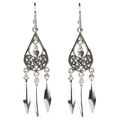 Ohrringe Oriental Ornament 925er Sterling Silber Länge 4,3 cm
