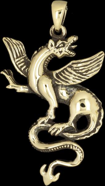 Golder Drache Anhänger aus Bronze