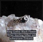 Ring Gothic Black Flower 925er Sterling Silber