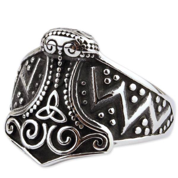 Thors Hammer Ring mit keltischen Knoten aus Edelstahl
