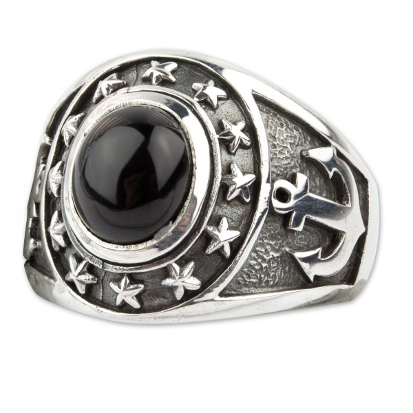 Ring Nautical Anker und Sterne 925er Sterling Silber mit Onyx