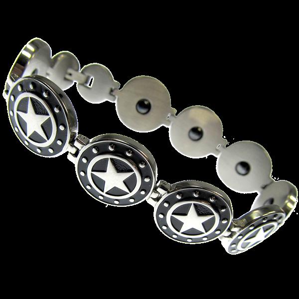 Armband Black Stars Sterne aus Edelstahl Länge 22 cm