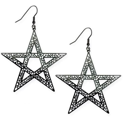 Schwarze Pentagramm Ohrringe aus Edelstahl