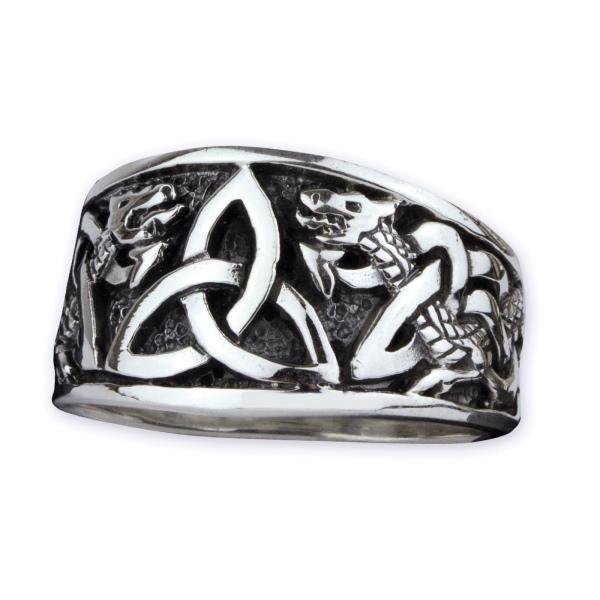 Keltischer Knoten mit Drachen Silberring
