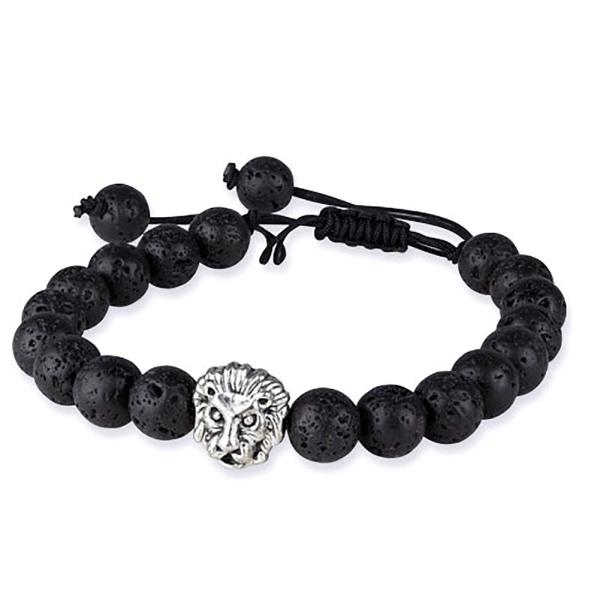 Schwarzes Armband aus Lava mit einem silbernen Löwenkopf