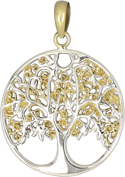 Anhänger Lebensbaum gold silber aus Bronze