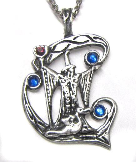 Anhänger Merlin Zauberer Amulett aus Zinn mit Zirkonia blau und rot inkl Kette Fantasy