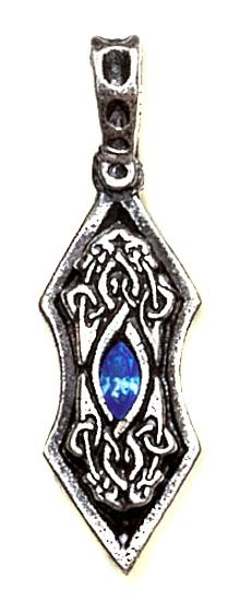 Amulett Auge des Drachen Eisdrachen Zinn mit Zirkonia blau inkl Kette