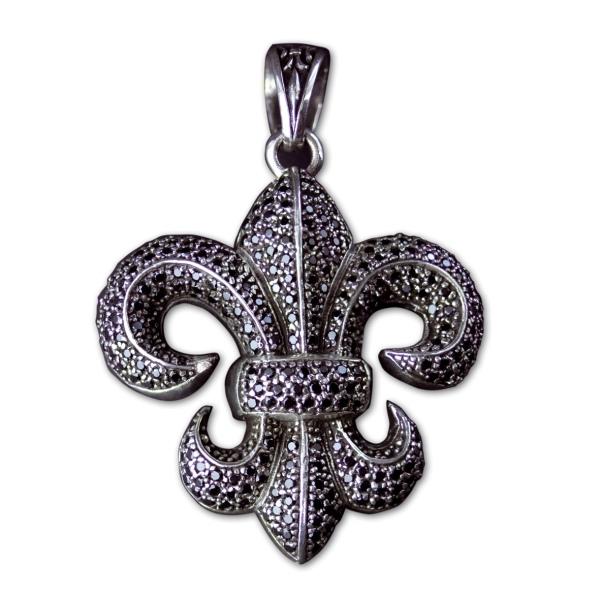 Anhänger große Lilie Fleur de Lis aus 925er Sterling Silber mit schwarzen Zirkonia besetzt