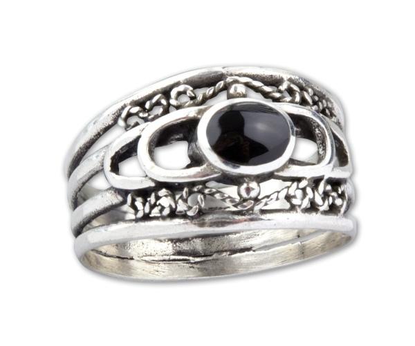 Ring Ornament Gothic 925er Sterling Silber mit schwarzem Onyx