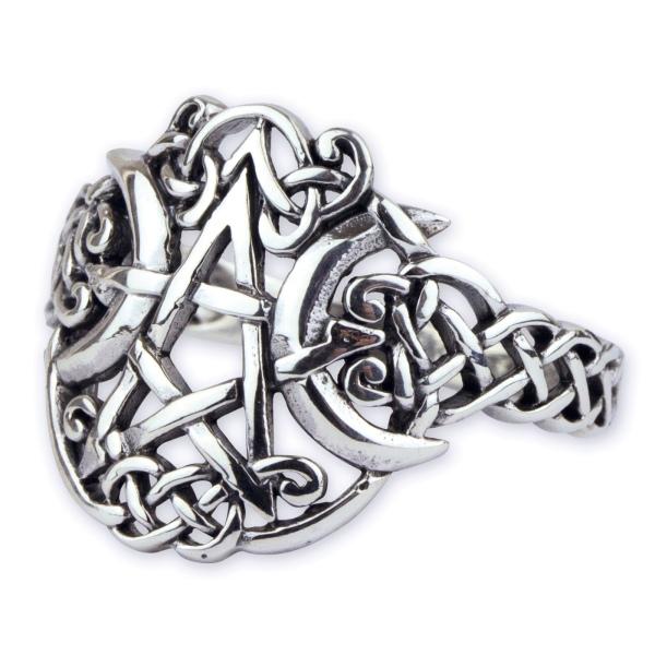 Ring Pentagramm mit Mond 925 Silber Mond-Pentagramm H 1,7cm